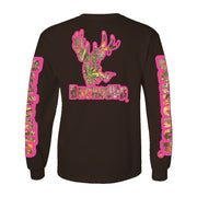 Long Sleeve Chocolate with Pink Camo Logo
