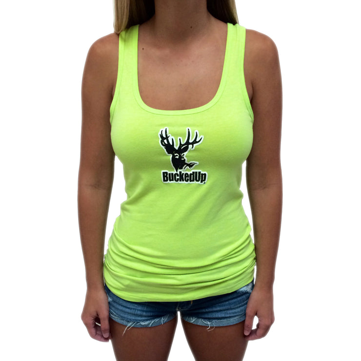 Distressed Lime Tank with White Logo