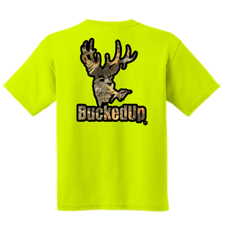 Short Sleeve Safety Green with Black-Camo Logo