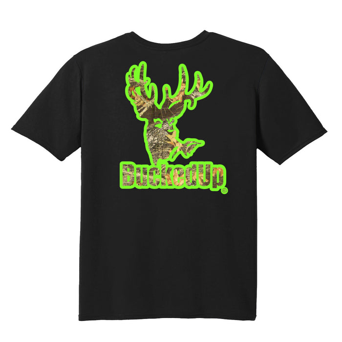 Short Sleeve Black with Green Camo Logo