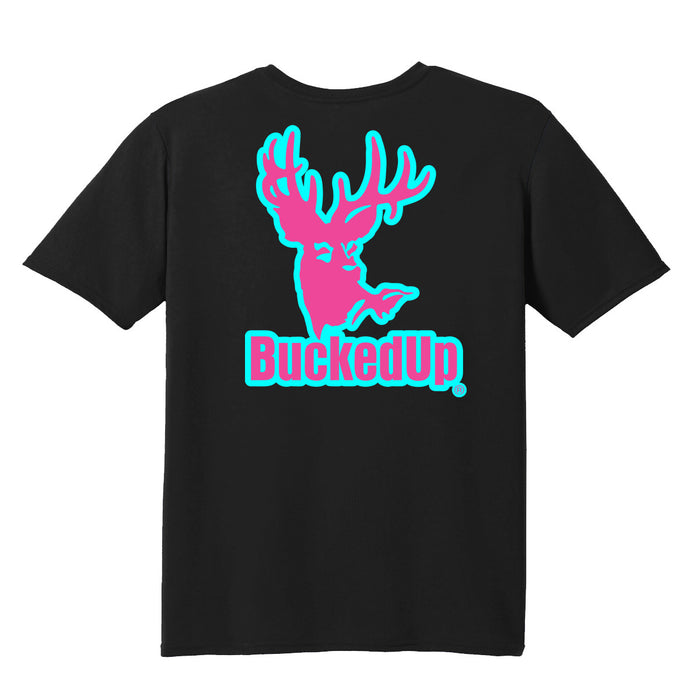 Short Sleeve Black with Aqua Blue Pink Logo