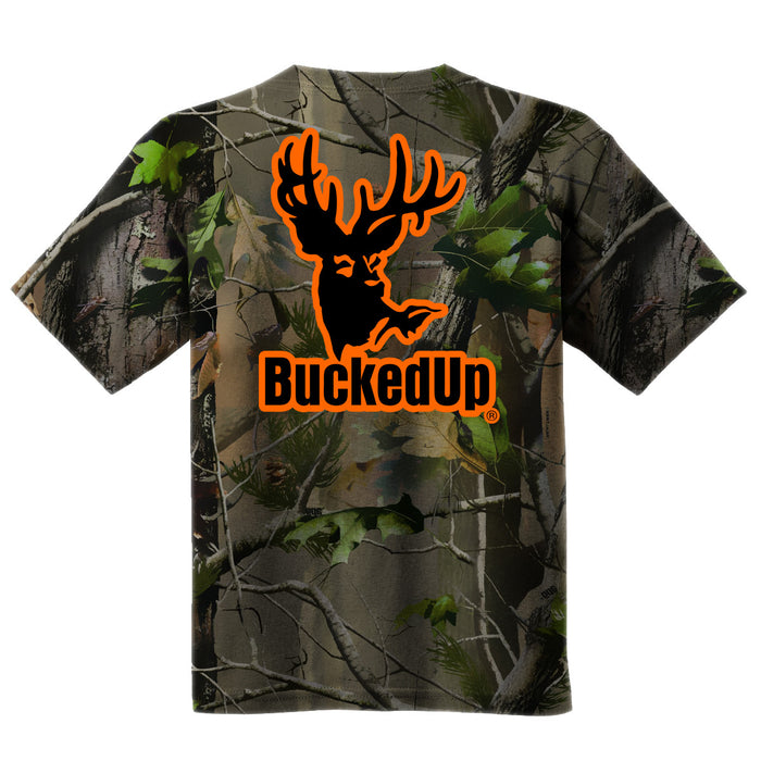 Short Sleeve Realtree APG Camo with Orange Logo