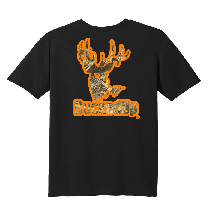 Short Sleeve Black with Orange Camo Logo