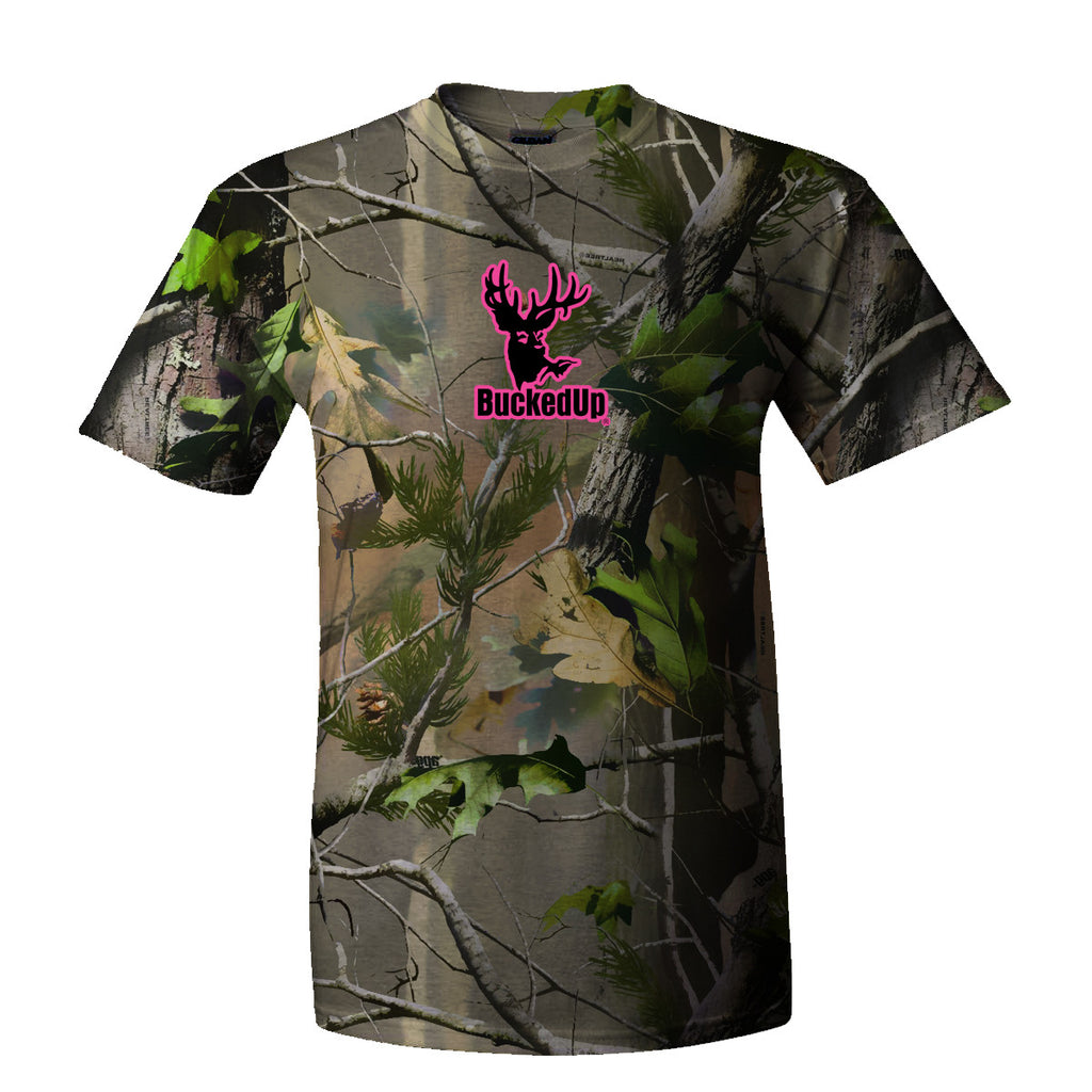 Short Sleeve Realtree APG Camo with Pink Logo