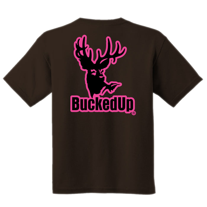 Short Sleeve Chocolate with Pink Logo