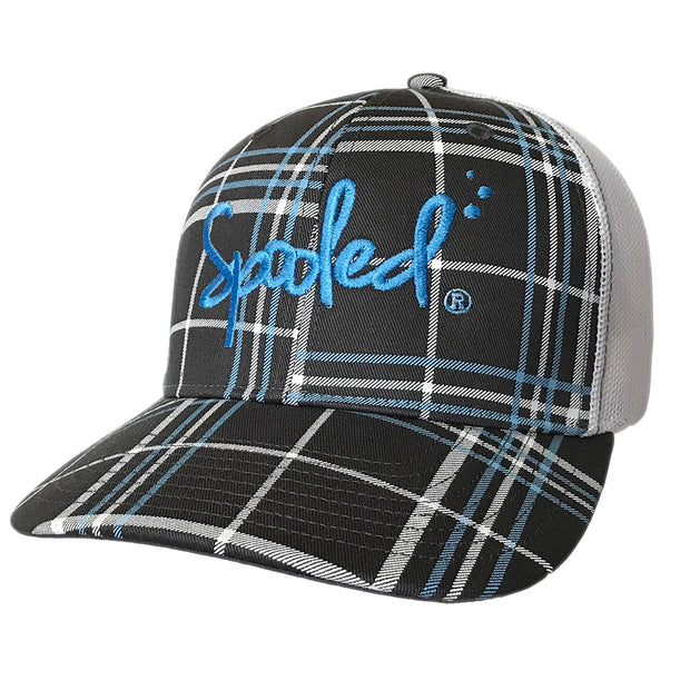 Spooled Blue Black Plaid with White Mesh Snapbacks
