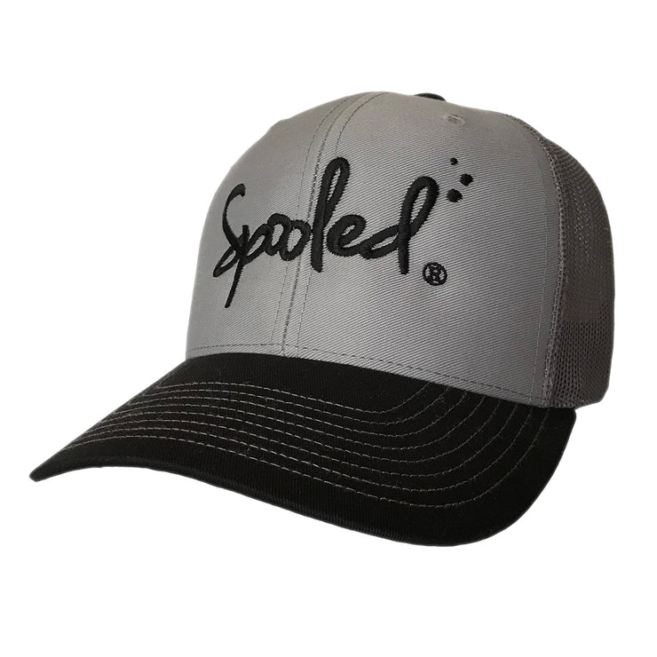 Spooled Black Gray with Black Mesh Snapbacks