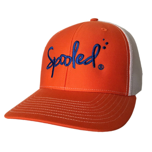 Spooled Blue Orange with White Mesh Snapbacks