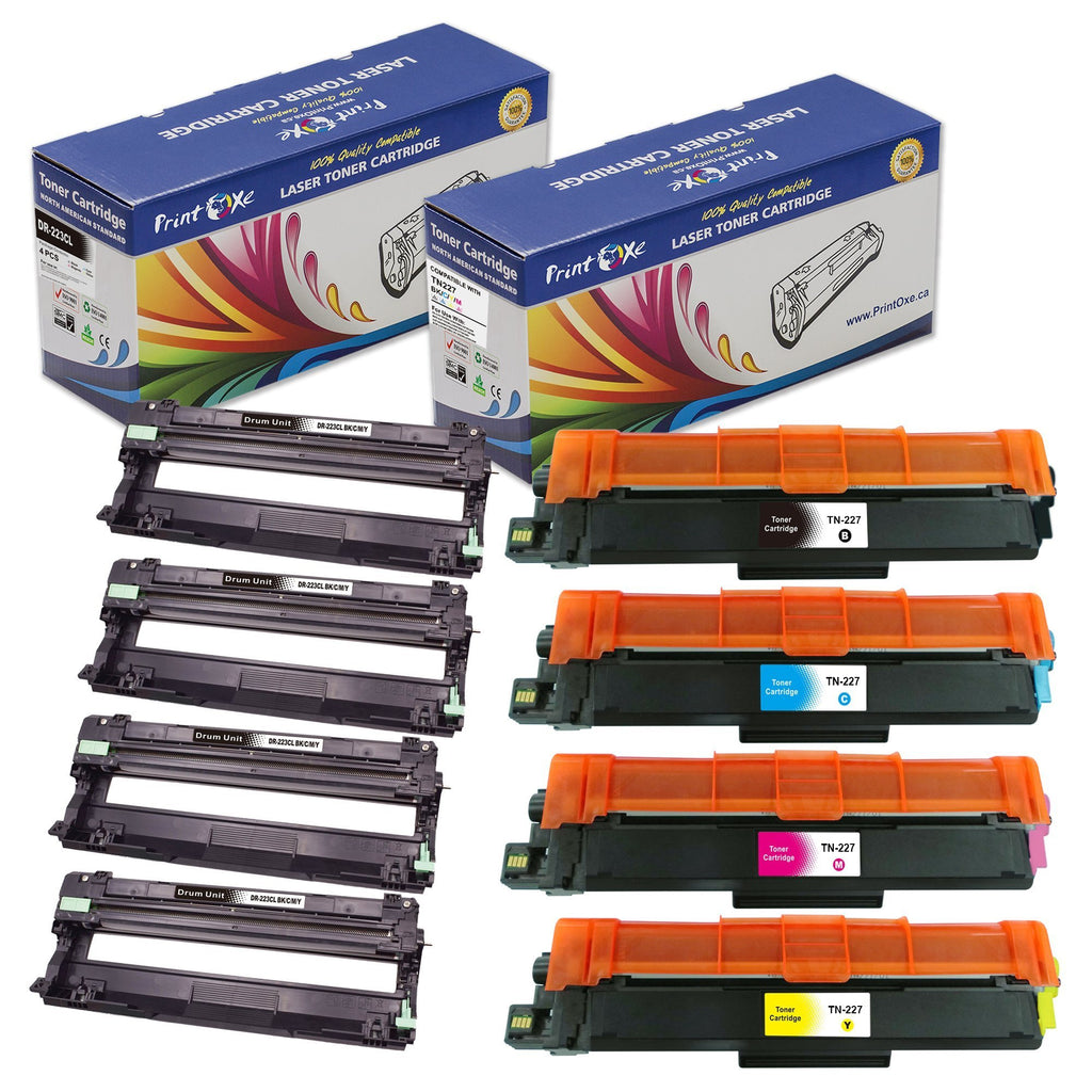 2 Sets of Compatible Drums for DR223CL and Toner Cartridges for TN227 | 2 Sets of 8 Units | - Pan Continent Inc. - PrintOxe