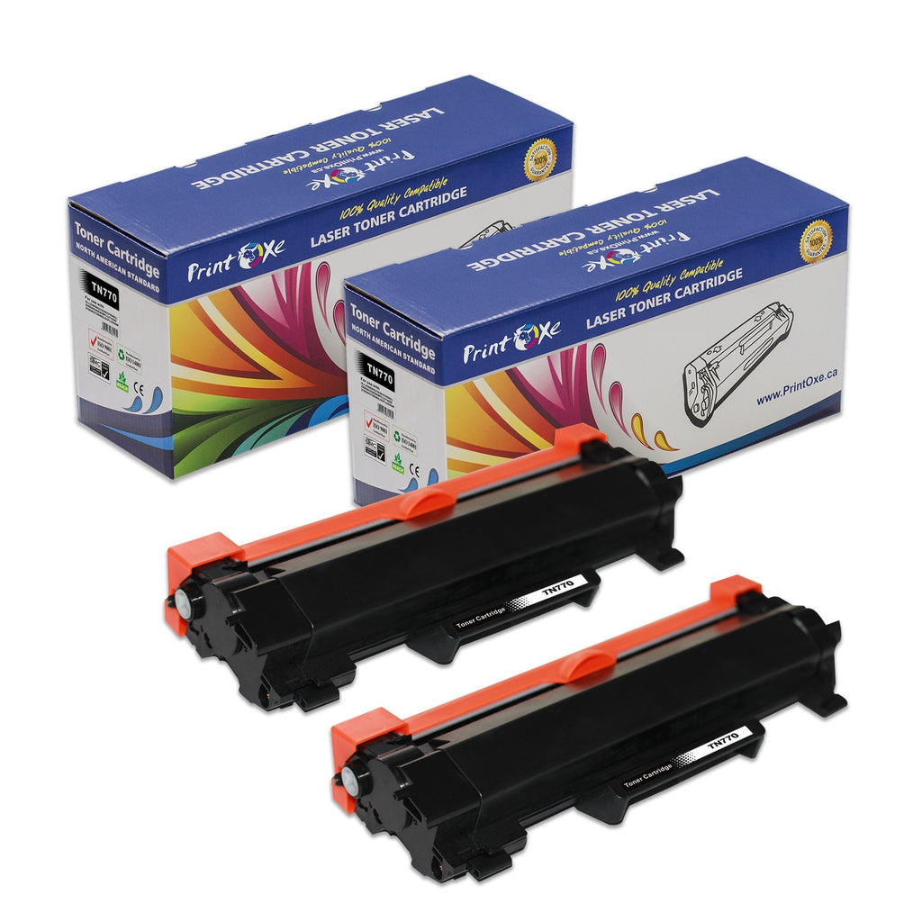 Brother TN770 Compatible 2 Toner Cartridges (With CHIP) High Yield of TN 730 Delivers 4,500 Pages - Pan Continent Inc. - PrintOxe