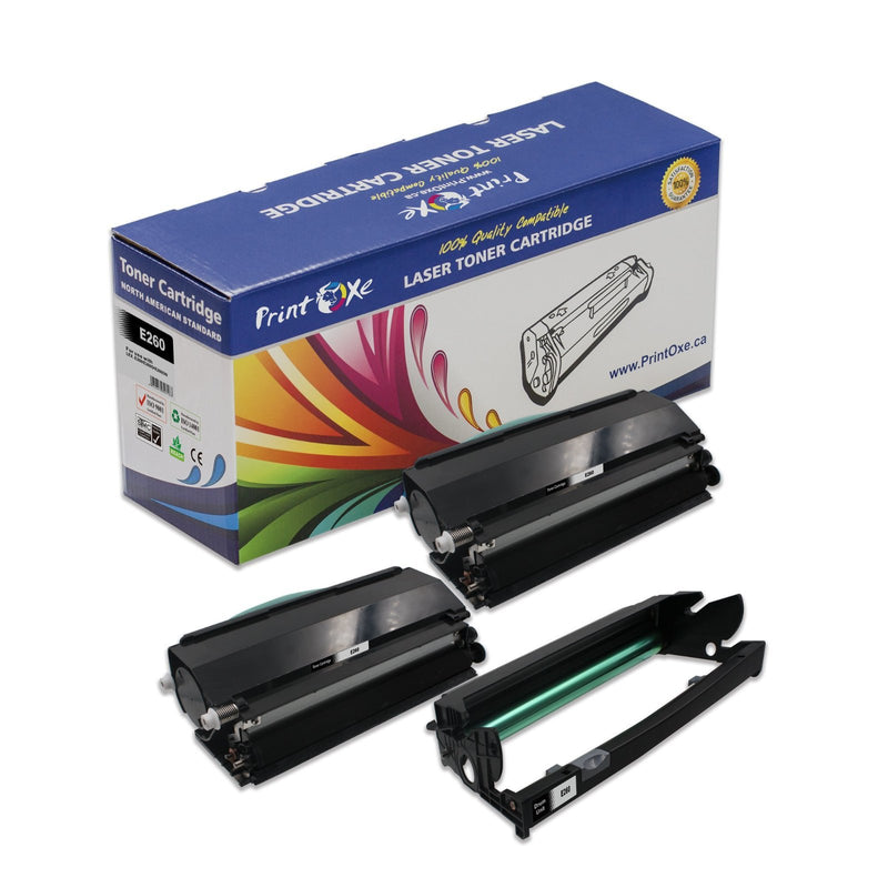 Lexmark E260 Compatible E260A11A Two Toner Cartridges & One Drum for E260X22G - Pan Continent Inc. - PrintOxe