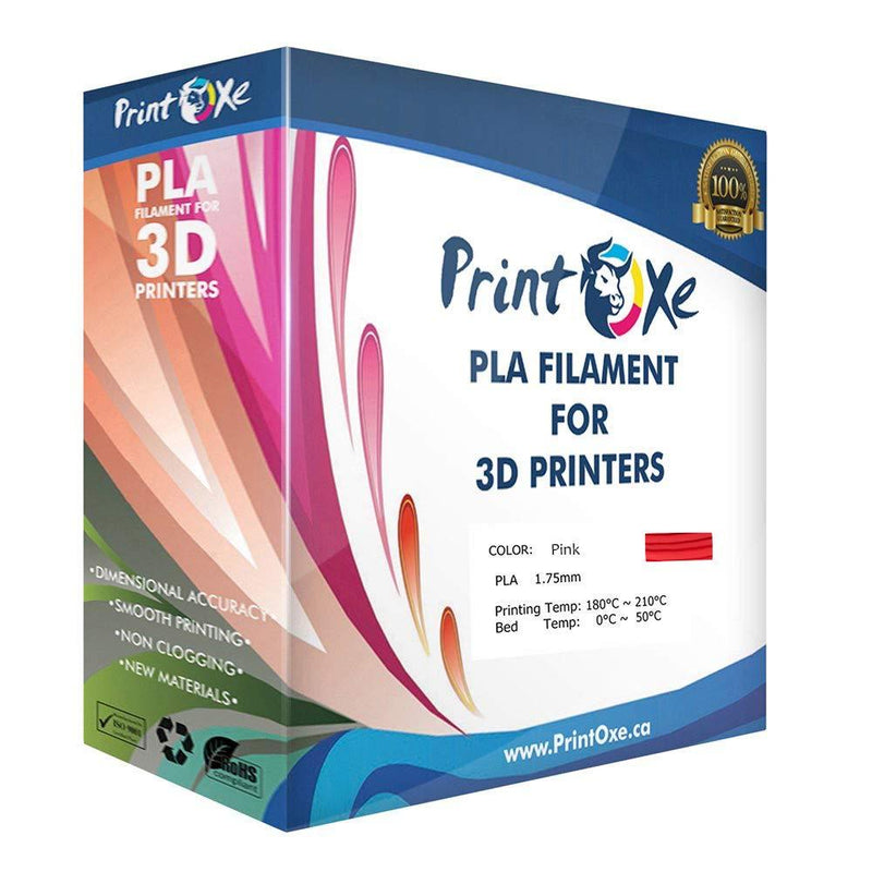 Pink PLA 3D Printer Filament 1.75-1Kg Spool (2.2 LBs) Dimensional Accuracy +/- 0.03 mm - Pan Continent Inc. - PrintOxe