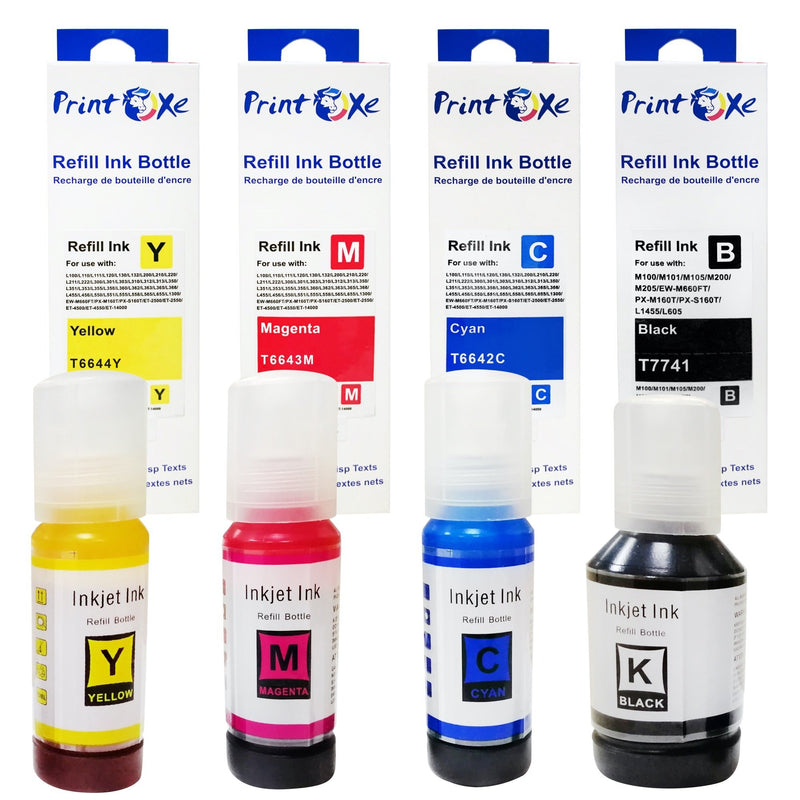 T774 T664 Compatible Refill Set of 4 Pigment Ink Bottles for T774 T664 High Yield for Epson Expression & WorkForce - Pan Continent Inc. - PrintOxe