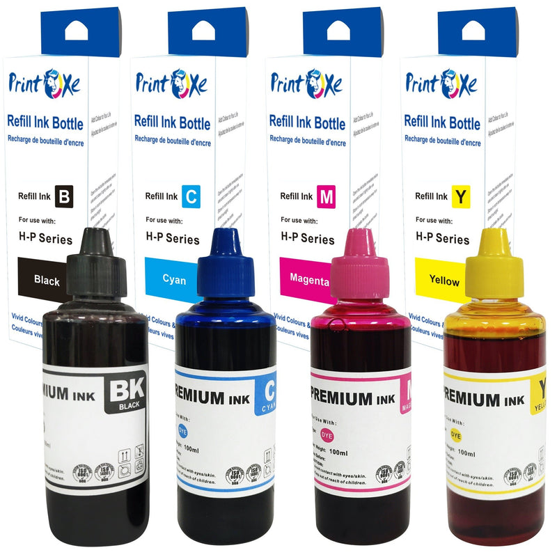 Universal Ink Refill Set of 4 Bottles 370 for HP & Canon Desktop CISS & Cartridges Printers - Pan Continent Inc. - PrintOxe