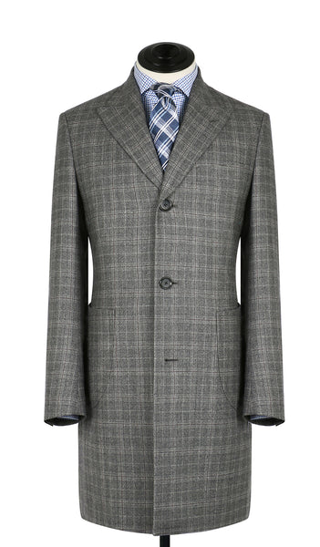 Grey & Burgundy Plaid Overcoat