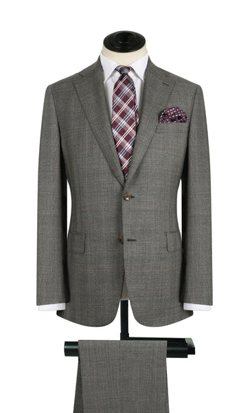 Grey And Burgundy Plaid Suit