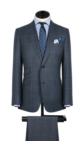 Blue And Sky Plaid Suit