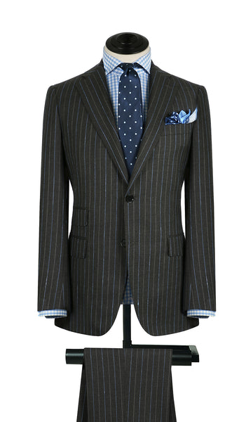 Charcoal w/ Sky and Silver Stripe Suit