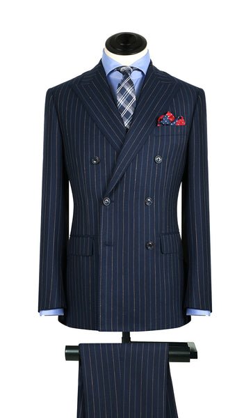 Royal w/ Tan and Silver Stripe DB Suit