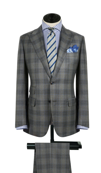 Tan and Sky Plaid Suit