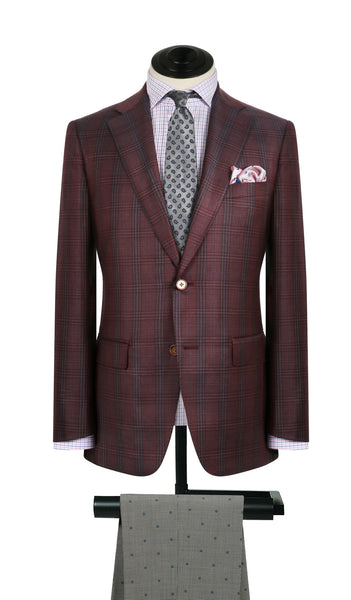 Burgundy and Grey Plaid Sports Coat