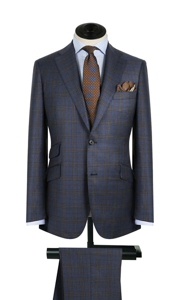 Blue and Rust Plaid Suit