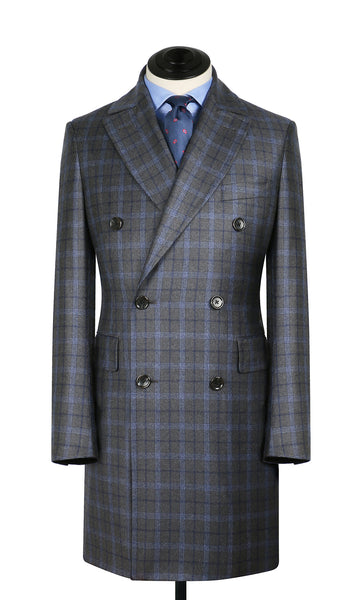Grey and Blue Plaid WP DB Overcoat