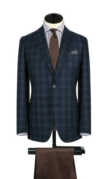 Blue and Brown Plaid Sports Coat