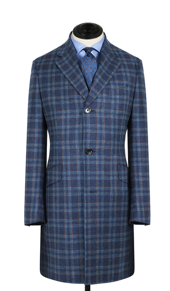 Blue and Rust Plaid Overcoat