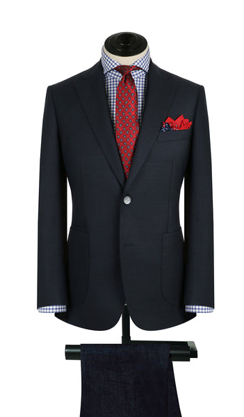 Navy Sharkskin Sports Coat