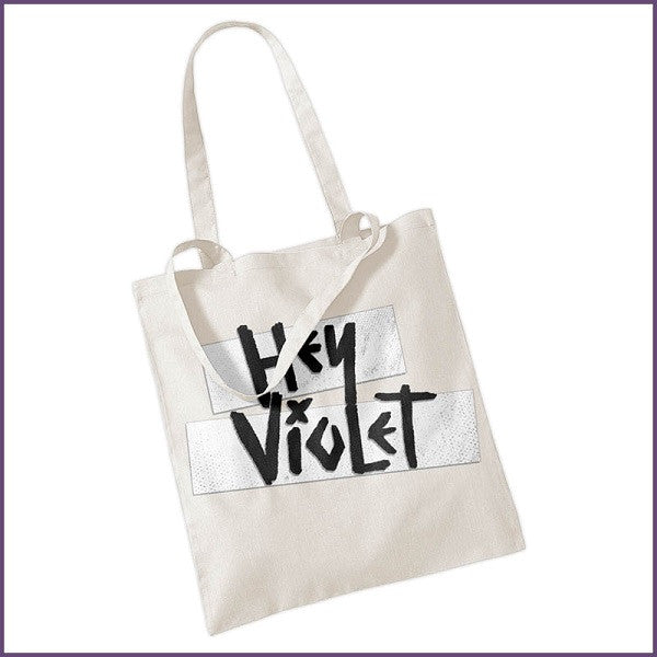 'HEY VIOLET LOGO' NATURAL TOTE BAG
