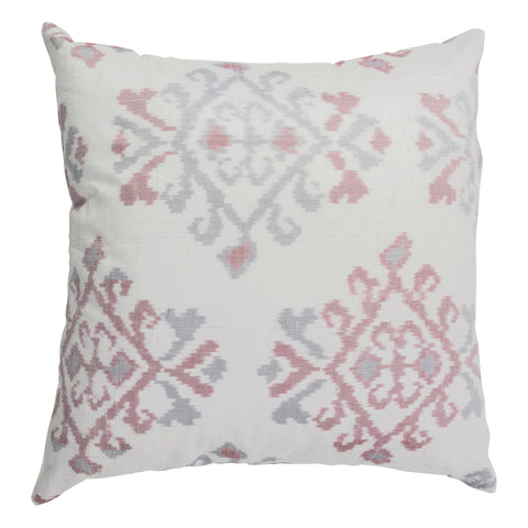 Ikat Pure Silk Decorative Pillow, Bristow, White. Made from handcrafted natural 100% Silk fabric using sustainable, fair trade practices.