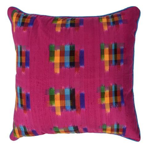 Ikat Pure Silk Decorative Pillow, Fuschia, Brushstrokes. Made from handcrafted natural 100% Silk fabric using sustainable, fair trade practices.
