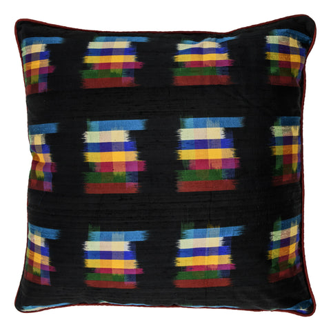 Ikat Pure Silk Decorative Pillow, Black, Brushstrokes. Made from handcrafted natural 100% Silk fabric using sustainable, fair trade practices.