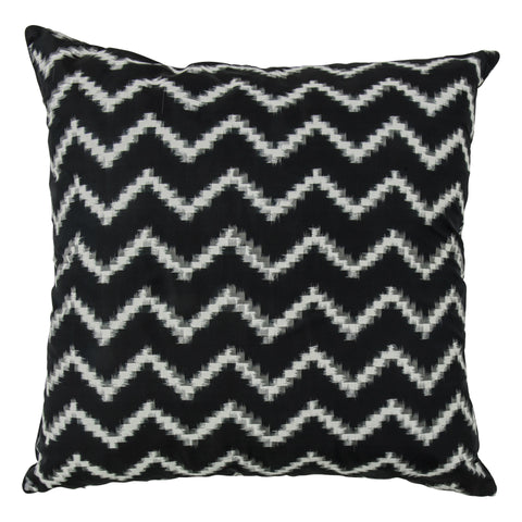 Ikat Pure Silk Decorative Pillow, Chevron. Made from handcrafted natural 100% Silk fabric using sustainable, fair trade practices.