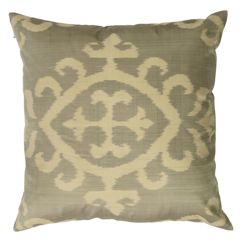 Ikat Pure Silk Decorative Pillow, Bristow, Beige. Made from handcrafted natural 100% Silk fabric using sustainable, fair trade practices.