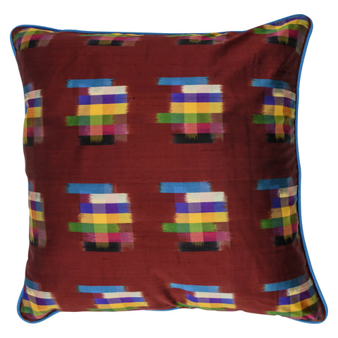 Ikat Pure Silk Decorative Pillow, Maroon, Brushstrokes. Made from handcrafted natural 100% Silk fabric using sustainable, fair trade practices.
