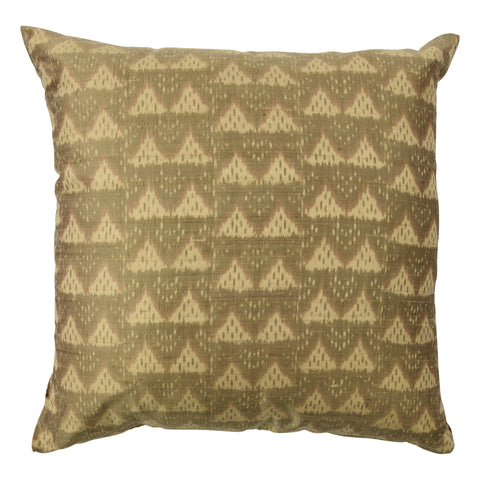 Ikat Pure Silk Decorative Pillow, Damask, Gold Beige. Made from handcrafted natural 100% Silk fabric using sustainable, fair trade practices.