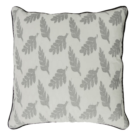 Fleurs Handloom Cotton Decorative Pillow, Gray Leaves. Made from handcrafted natural 100% Cotton fabric using sustainable, fair trade practices.