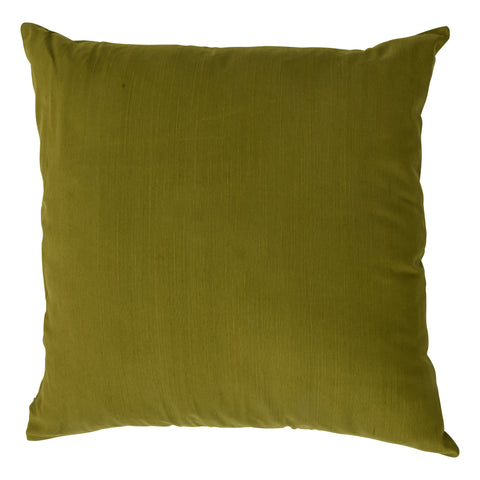 Ishani Cotton-Silk Decorative Pillow, Calliste Green. Made from handcrafted natural 100% Cotton-Silk fabric using sustainable, fair trade practices.