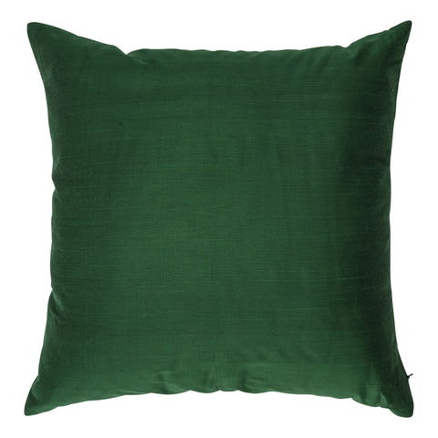 Ishani Cotton-Silk Decorative Pillow, Emerald Green. Made from handcrafted natural 100% Cotton-Silk fabric using sustainable, fair trade practices.