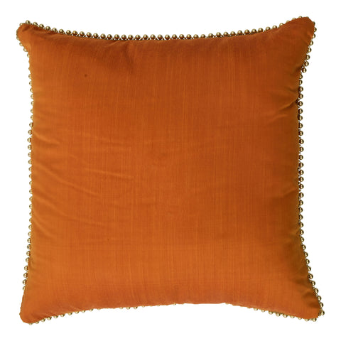 Ishani Cotton-Silk Decorative Pillow, Vibrant Orange with embellished edges. Made from handcrafted natural 100% Cotton-Silk fabric using sustainable, fair trade practices.