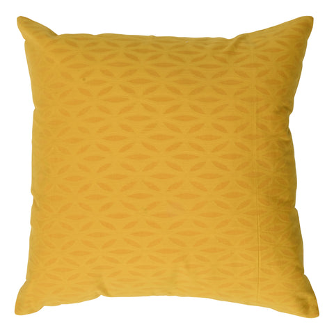 Impression Applique Cotton Decorative Pillow, Vibrant Yellow. Made from handcrafted natural 100% Cotton fabric using sustainable, fair trade practices.
