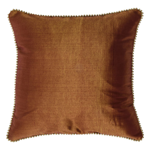 Enchanteur Shimmer Silk Decorative Pillow, Gold'n Red with embellished edges. Made from handcrafted natural 100% Shimmer Silk fabric using sustainable, fair trade practices.
