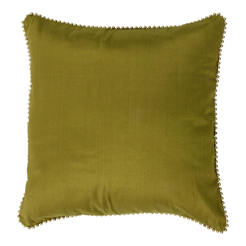 Enchanteur Shimmer Silk Decorative Pillow, Gold'n Calliste Green with embellished edges. Made from handcrafted natural 100% Shimmer Silk fabric using sustainable, fair trade practices.