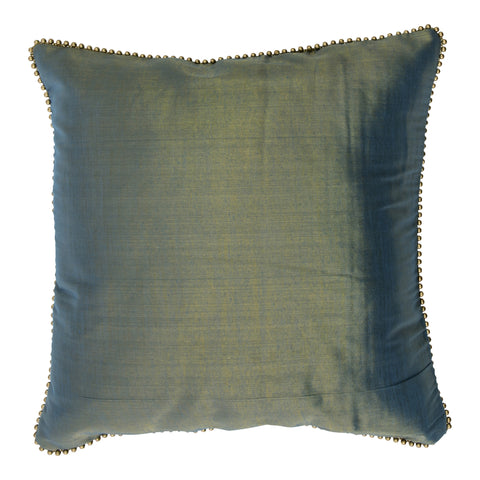Enchanteur Shimmer Silk Decorative Pillow, Gold'n Blue with embellished edges. Made from handcrafted natural 100% Shimmer Silk fabric using sustainable, fair trade practices.