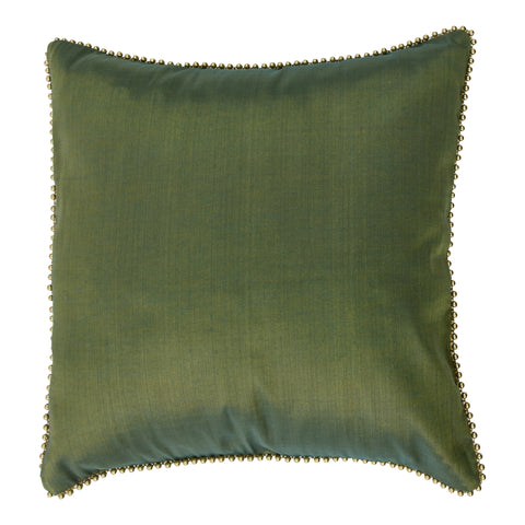 Enchanteur Shimmer Silk Decorative Pillow, Gold'n Green with embellished edges. Made from handcrafted natural 100% Shimmer Silk fabric using sustainable, fair trade practices.