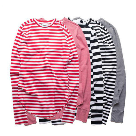 Elliott Striped Long Sleeve Scallop Tees