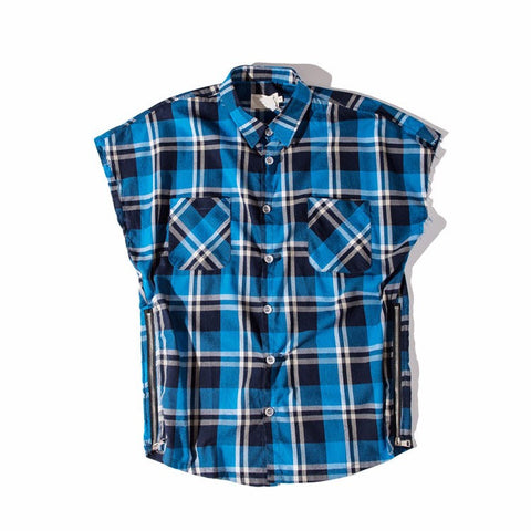 Jarod Plaid Cut Off (Blue)