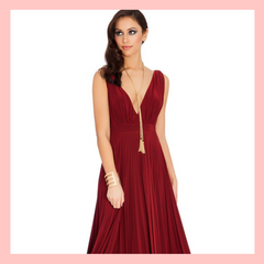 Burgundy Wine Winter Bridesmaid Dress